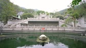 Beautiful temple around Dinghu Mountain National Nature Reserve at Zhaoqing, Guangdong, China Stock Footage