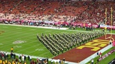 football field : Los Angeles, MAR 26: Night view of USC marching band in the football field on MAR 26, 2016 at Los Angeles, California Stock Footage