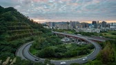 freeway interchange : Taipei, DEC 15: Night high angle time lapse of a beautiful loop in Xindian District on DEC 15, 2018 at Taipei, Taiwan