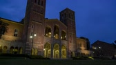 フォワード : Sunset to Night timelapse of the Royce Hall at Los Angeles, California 動画素材