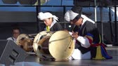 Los Angeles, JUL 13: Korean women playing drum for Lotus Festival Echo Park on JUL 13, 2019 at Los Angeles, California