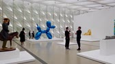 tentoonstelling : Las Vegas, Aug 8: Blue metal ballon dog display in the famous The Broad Museum on AUG 8, 2019 at Las Vegas, Nevada Stockvideo