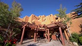 Santa Fe, OCT 6: Exterior view of a beautiful Pueblo building on OCT 6, 2019 at Santa Fe, New Mexico