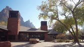 exteriors : Utah, NOV 11: Exterior view of the visitor center of the Zion National Park visitor center on NOV 11, 2019 at Utah Stock Footage