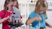 sınıf arkadaşları : Young school girl looks through microscope while a little classmate works with colored liquids next to her.