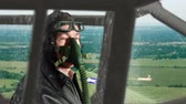 кокпит : WWII fighter pilot scout flying a reconnaissance mission.No color grade. Стоковые видеозаписи