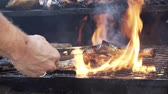 барабанная палочка : slow motion chicken being cooked on an outdoor grill