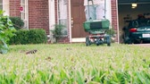 kordé : A homeowner fertilizing his lawn by using a small push type fertilizer spreader. Slow motion