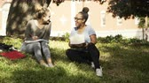 One college student greets her friend on campus to study 4k