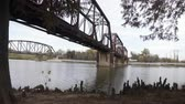 closeup of rusted train bridge from brazos river waco texas 4k