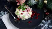 salada : Festive salad with breadcrumbs, balyk, Beijing cabbage. Suitable for New Year .Christmas treat. Garnished with cranberries.