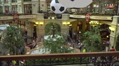 Lot of soccer balls are floating in the fountain of the Moscow Central Universal Department Store as a World Cup 2018 decoration. July 1, 2018 in Moscow, Russia.
