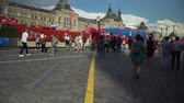 multidão : MOSCOW, - July 1: Crowd of locals people and fans near fan zone at the Red Square during FIFA World Cup 2018. July 1, 2018 in Moscow, Russia.