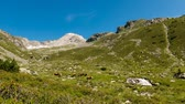 Timelapse of the valley near the Frienberghaus (hut) in Austria at Ginzling with a creek and cows. Dostupné videozáznamy