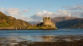 Time lapse video of Eilan Donan castle in spring with the tide at the sea
