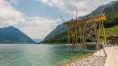 Pertisau, Austria - July 11, 2015: Timelapse of the watchtower at Pertisau at the Achensee in Austria.