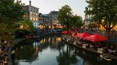 damarlar : Time Lapse Video of the Old Canal Canal in Utrecht during sunset.