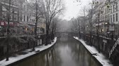 Utrecht, Netherlands - December 11, 2017: canals with trees, shops and a bridge in Utrecht in a winter snow storm, Netherlands.