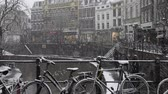 Utrecht, Netherlands - December 11, 2017: canals with trees and snowy bikes on a bridge in Utrecht in a winter snow storm, Netherlands. Dostupné videozáznamy