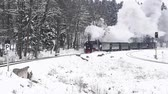 Drei Annen Hohe, Germany - February 5, 2018: Steam locomotive of the Harzer Schmallspurbahnen in wintertime with snow passing by.