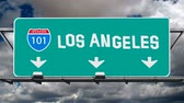 america : Los Angeles 101 Fwy Sign Time Lapse with Homemade Fun Font Stock Footage