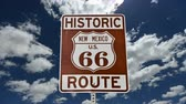 tabela : Route 66 Sign with Time Lapse Clouds Stok Video
