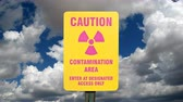 storm : Contamination Area Sign with Time Lapse Sky Stock Footage