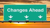 дорожный знак : Changes Ahead Highway Sign with Sunset Sky Time Lapse