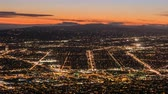 burbank : Burbank and Los Angeles dusk city view time lapse with zoom out.