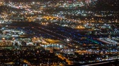 burbank : Night Airport Cityscape Time Lapse with Zoom in Burbank and Los Angeles California Stock Footage
