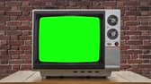 probówki : Vintage Television with Static Dissolving to Chroma Key Green Screen
