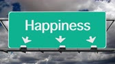 дорожный знак : Road to happiness freeway sign with time lapse clouds.