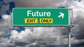 rota : Road to the Future Exit Sign with Time Lapse Clouds Vídeos