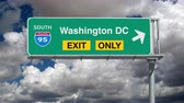 дорожный знак : Washington DC Interstate 95 Exit Sign with Time Lapse Clouds