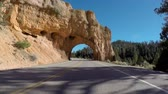 rota : Utah scenic highway tunnels driving shot on state route 12 near Bryce Canyon National Park.