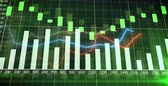 Colorful financial graph showing a increasing tendency with a bar charts and curves with a green backgroundBuisness, Financy, Economyanimated abstract