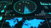 погоня : A professional 3d rendering of a radar screen to detect flying airplanes. It displays line bars, world man and circular blue grids with sparkling spots in the black background. Стоковые видеозаписи