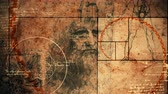 человечество : An amazing 3d rendering of code Da Vinci picture with a portrait of the old bearded genius from Italy, a virtuvian man and a moving spiral line covering moving images.