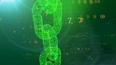 vertical : A computer graphic 3d rendering of a moving vertically green chain protecting the cyberspace against the flying horizontally yellow digits of a programmed matrix in the blue backdrop.