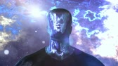 A fantasy 3d rendering of a cyborg looking man without eyes, lips and nose but with shining metallic face and body. The black and blue cosmos moves behind his strong body.