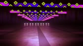 An inspiring 3d rendering of colorful lamps in an underground tunnel in the dark violet background. The horizontal straight stripes from squares shine in a festive way