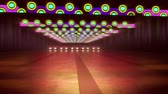 An original 3d rendering of colorful illumination of an underground tunnel in the green background. The horizontal rainbow style stripes sparkle in a cheery way