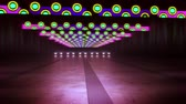 An amazing 3d rendering of colorful illumination of an underground tunnel in the violet backdrop. The horizontal round and straight stripes shine in a cheerful way