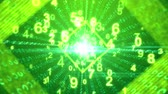 An advanced 3d rendering of flying digits moving through a square shaped portal in the light green background. It illustrates modern cyberspace and social communication.