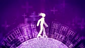 A snappy 3d rendering of an abstract young man riding white roller skates in the violet background. The land with high buildings and crosses rotates under the wheels