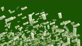 A celebratory 3d rendering of American dollars blasting like a cheerful salute and flying in the dark green background. They make circles in a hilarious and optimistic way. Stok Video