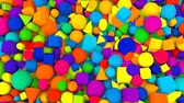 A retro 3d rendering of random shape and colored balls, squares, pills, lozenges, pyramids, cubes, falling down and jumping cheerfully and optimistically up.