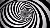 A psychedelic 3d rendering of an optical illusion created by black and white lines rotating in a tunnel with spiraling effect. They create the mood of mystery and magic.