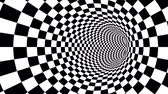 opções : A mesmerizing 3d rendering of an optical illusion created by zoom in of black and white squares looking like a passage from chessboards creating the mood of magic and art. Stock Footage