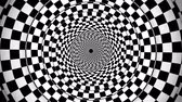 An impressive 3d rendering of a symmetrical illusion formed by black and white squares turning in opposite way making a huge tunnel from chessboards creating the magic spirit. Stok Video